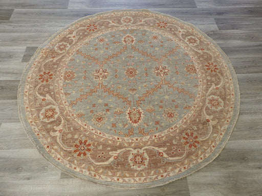 Afghan Hand Knotted Choubi Round Rug Size: 183 x 183cm-Round Rug-Rugs Direct