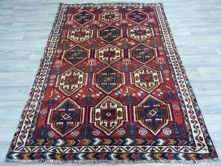 Persian Hand Knotted Shiraz Rug Size: 210 x 148cm-Persian Rug-Rugs Direct