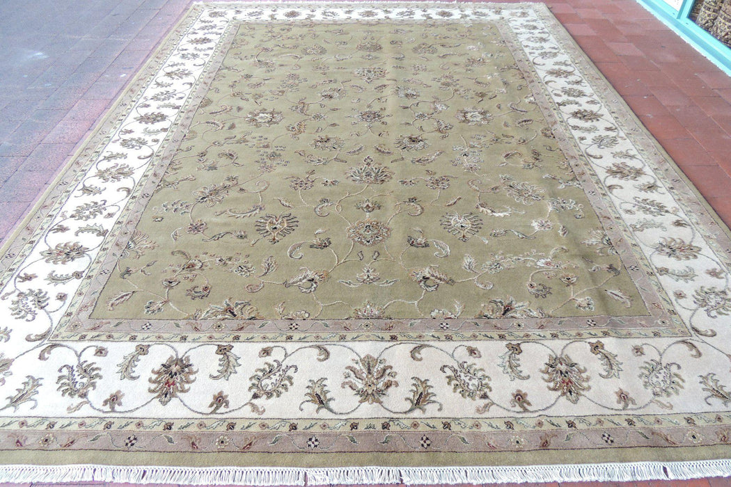 Hand Knotted Kashmir Wool & Silk Rug Size: 272 x 360cm-Silk Rug-Rugs Direct
