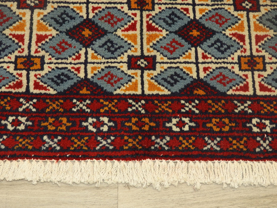 Persian Hand Knotted Turkman Rug Size: 107 x 52cm-Persian Rug-Rugs Direct