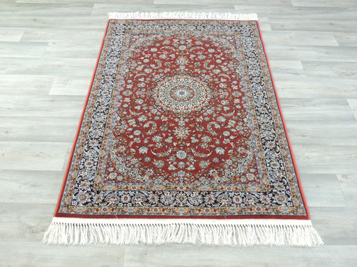 Dark Red Persian Nain Design Art Silk Rug Size: 100 x 150cm-Silk Rug-Rugs Direct