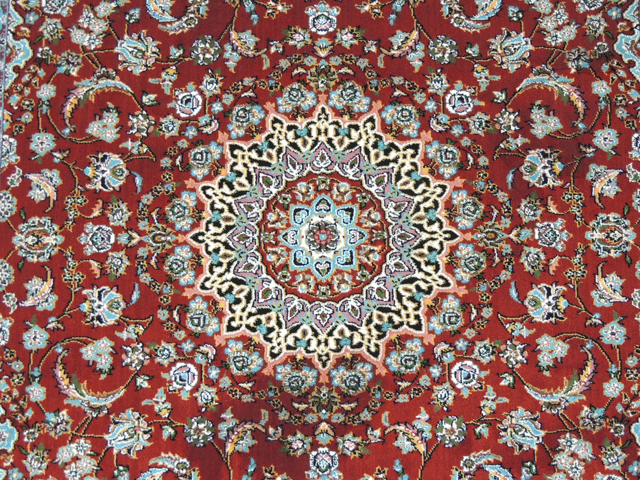 Dark Red Persian Nain Design Art Silk Rug Size: 100 x 150cm