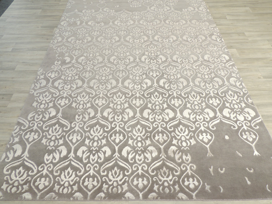 Hand Knotted Modern Wool & Silk Erased Design Rug Size: 200 x 300cm-Unclassified-Rugs Direct