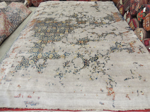 Spectacular Bamboo Silk Hand Knotted Erased Design Size: 300 x 420cm-DESIGNER RUG-Rugs Direct