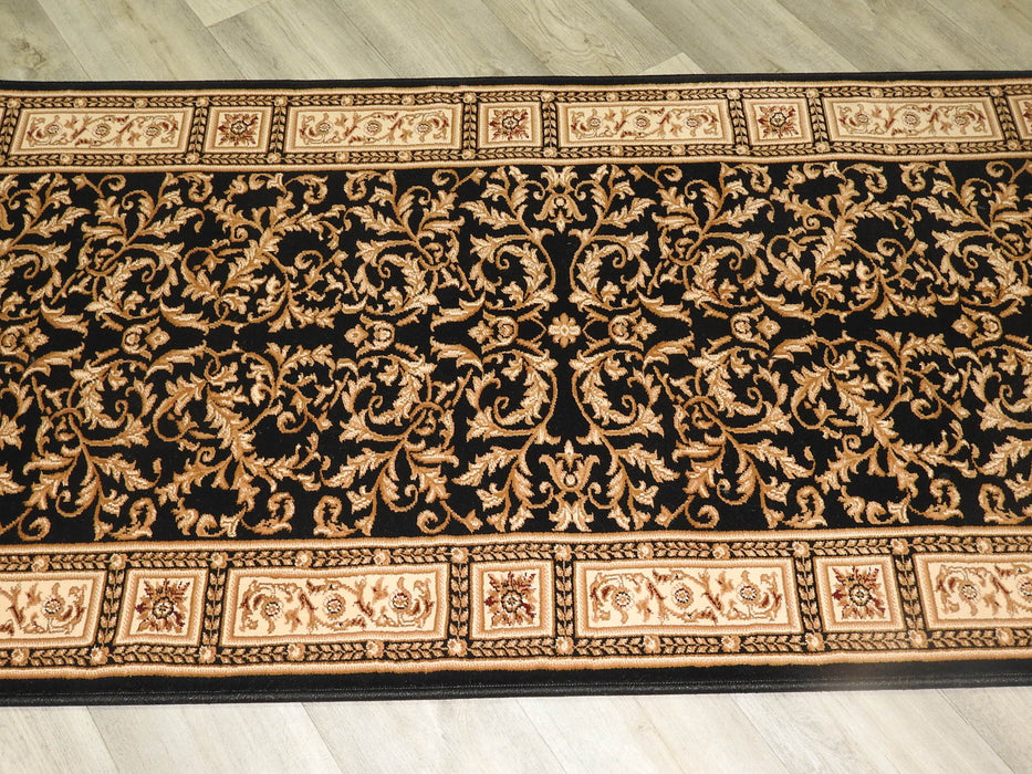 Black Traditional Design Turkish Hallway Runner 80cm Wide x Cut To Order-Hallway Runner-Rugs Direct