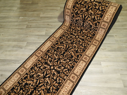 Black Traditional Design Turkish Hallway Runner 80cm Wide x Cut To Order