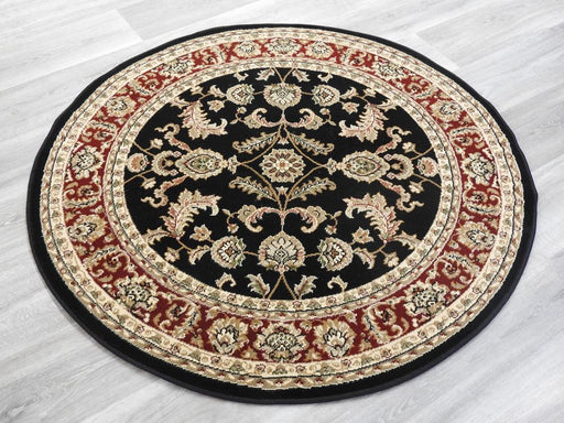 Black and Red Traditional Round Turkish Rug