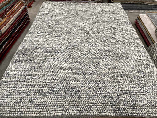100% Wool Chunky Loop Pile White Anthracite Rug