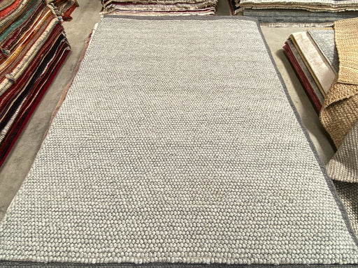 100% Wool Chunky Loop Pile Silver Colour Rug