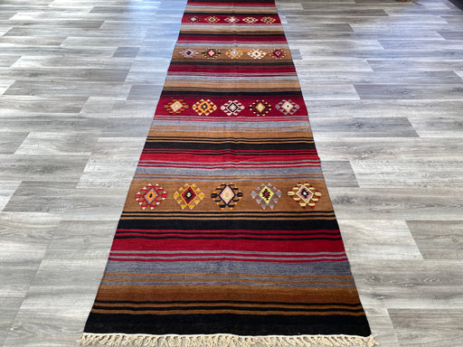 Vintage Hand Made Sivas Turkish Kilim Runner Size: 361 x 93cm