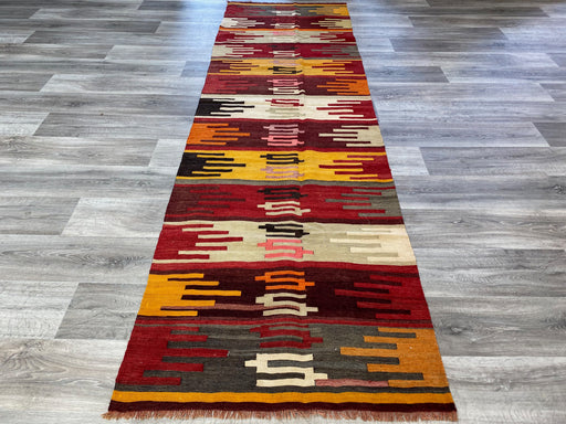 Vintage Turkish Hand Made Kilim Hallway Runner Size: 300 x 88cm