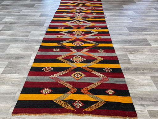 Vintage Hand Made Sivas Turkish Kilim Runner Size: 386 x 111cm