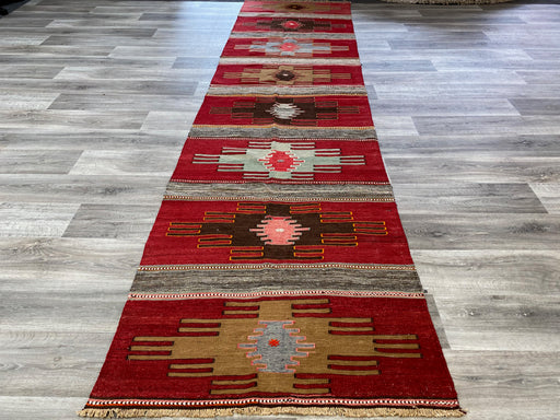 Vintage Hand Made Kayseri Turkish Kilim Runner Size: 388 x 94cm