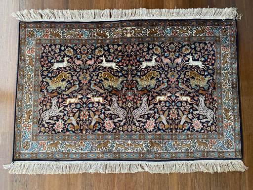 Persian Hand Knotted Hunting Design Silk Rug