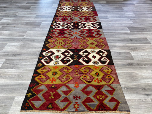 Turkish Hand Made Anatolian Kilim Runner Size: 368 x 107cm