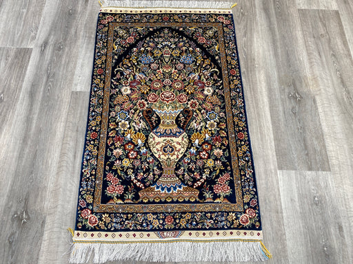 Hand Knotted Persian Design Pure Silk Rug Size: 100 x 62cm