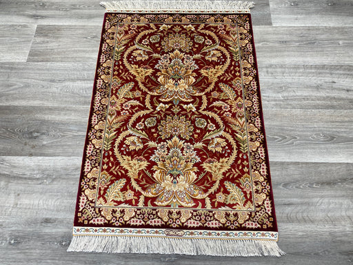 Hand Knotted Persian Design Pure Silk Rug Size: 94 x 64cm
