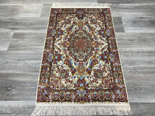 Hand Knotted Persian Design Pure Silk Rug Size: 98 x 62cm