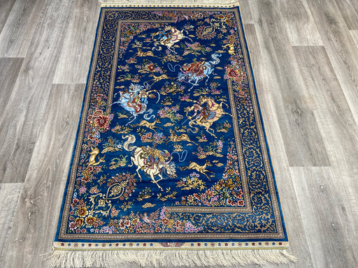 Hand Knotted Persian Design Pure Silk Rug Size: 154 x 94cm