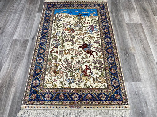 Hand Knotted Persian Design Pure Silk Rug Size: 151 x 93cm