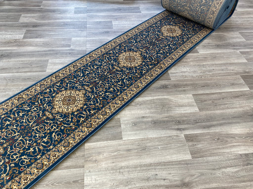 Blue Colour Turkish Hallway Runner 80cm Wide x Cut To Order
