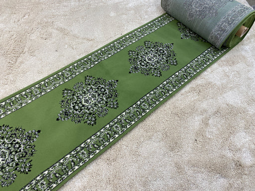 Traditional Green Colour Hallway Runner 100cm Wide x Cut To Order