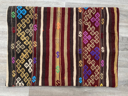 Turkish Hand Made Vintage Kilim Large Lumbar Pillow Cover