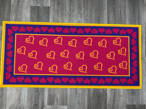 NYLON HEARTS DESIGN PINK NON-SLIP WASHABLE MAT SIZE: 140 x 67cm