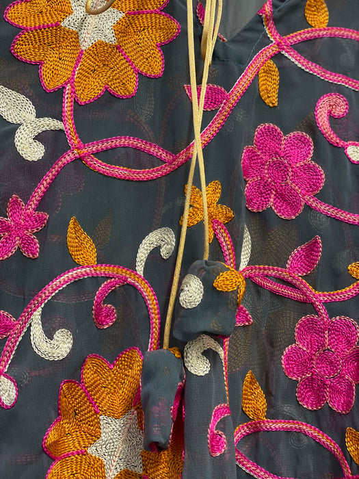 Floral Embroidery Kaftan Dress