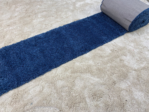 "Turkish ""Blue"" Shaggy Runner 80cm Wide x Cut to Order"