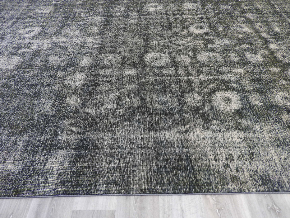 Dark Grey Color OVERDYED Handmade Vintage Persian Rug Size: 381 x 278cm