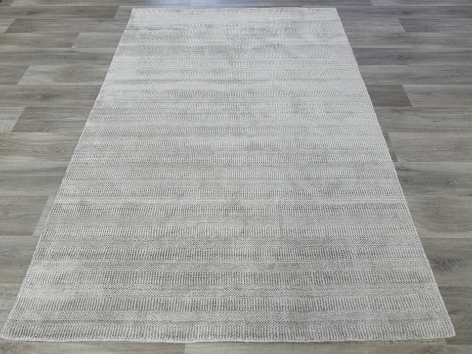 Modern Hand Knotted NZ Wool & Bamboo Silk Rug-natural/wool-Rugs Direct