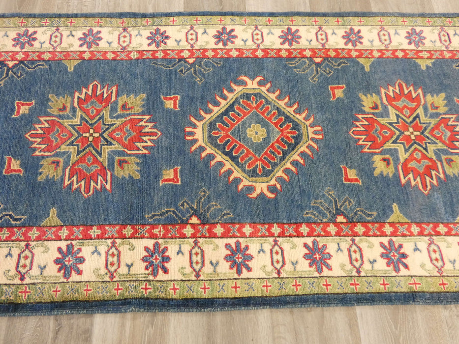 Afghan Hand Knotted Kazak Runner Size: 285 x 88cm