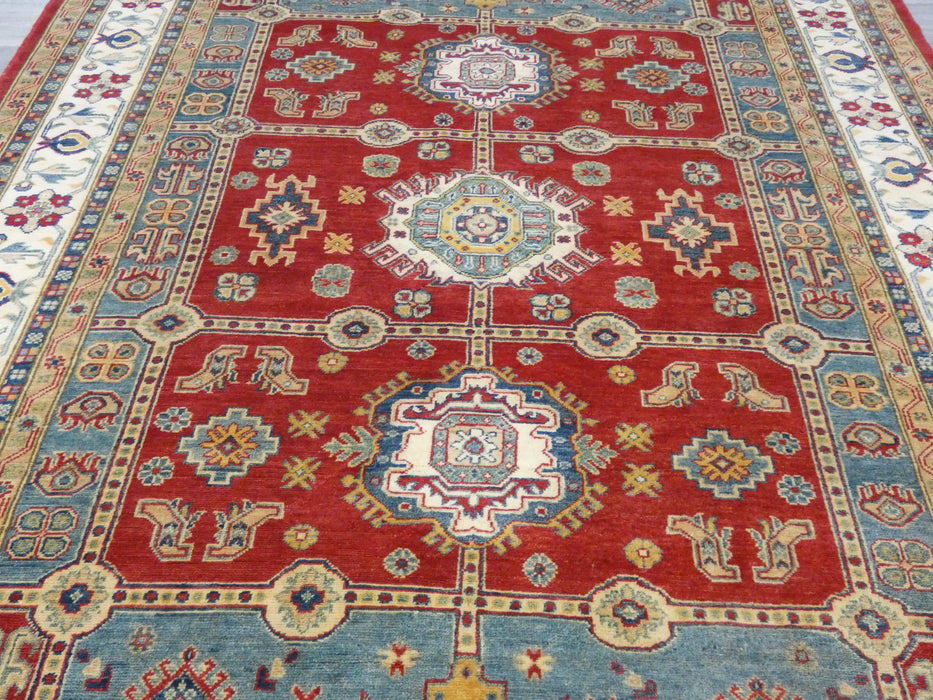 Afghan Hand Knotted Kazak Rug Size: 302 x 207cm-Kazak Rug-Rugs Direct