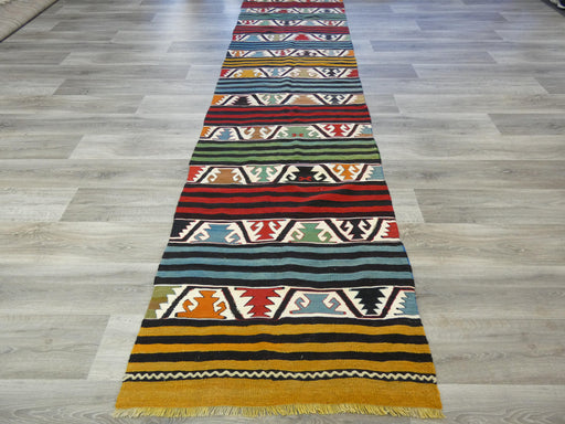 Hand Made Turkish Kilim Runner Size: 393 x 91cm-Kilim Runner-Rugs Direct