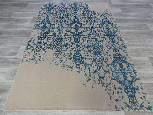 Hand Knotted Modern Wool & Silk Erased Design Rug Size: 160 x 230cm