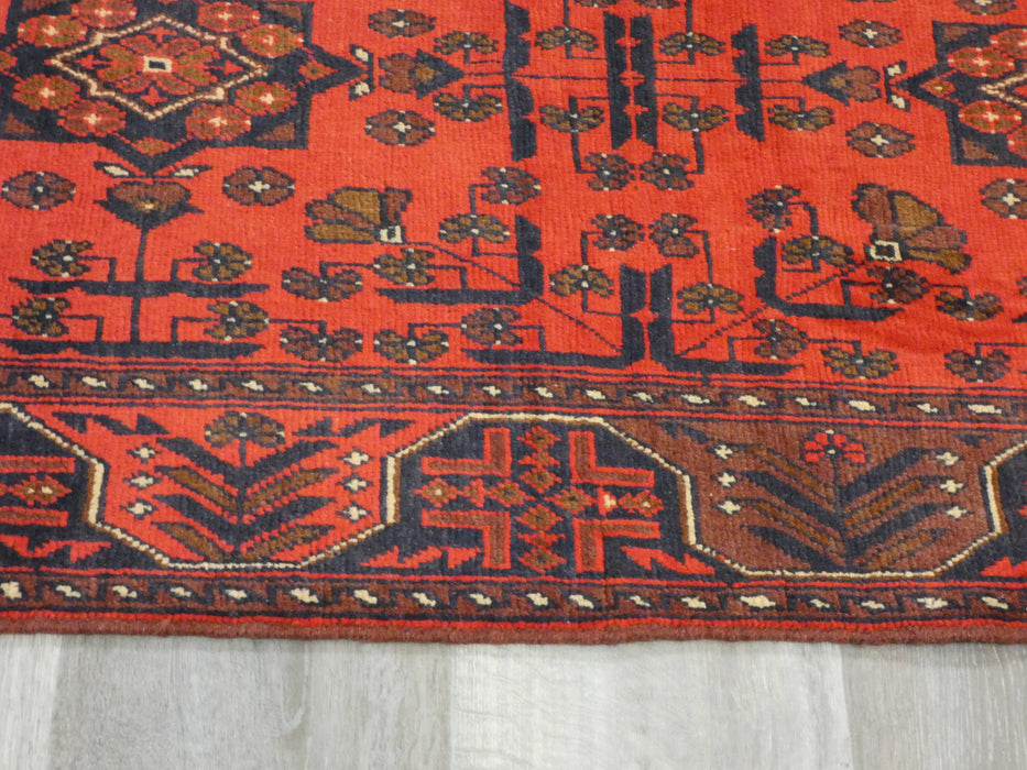Afghan Hand Knotted Khal Mohammadi Runner Size: 382 x 77cm-Afghan Runner-Rugs Direct