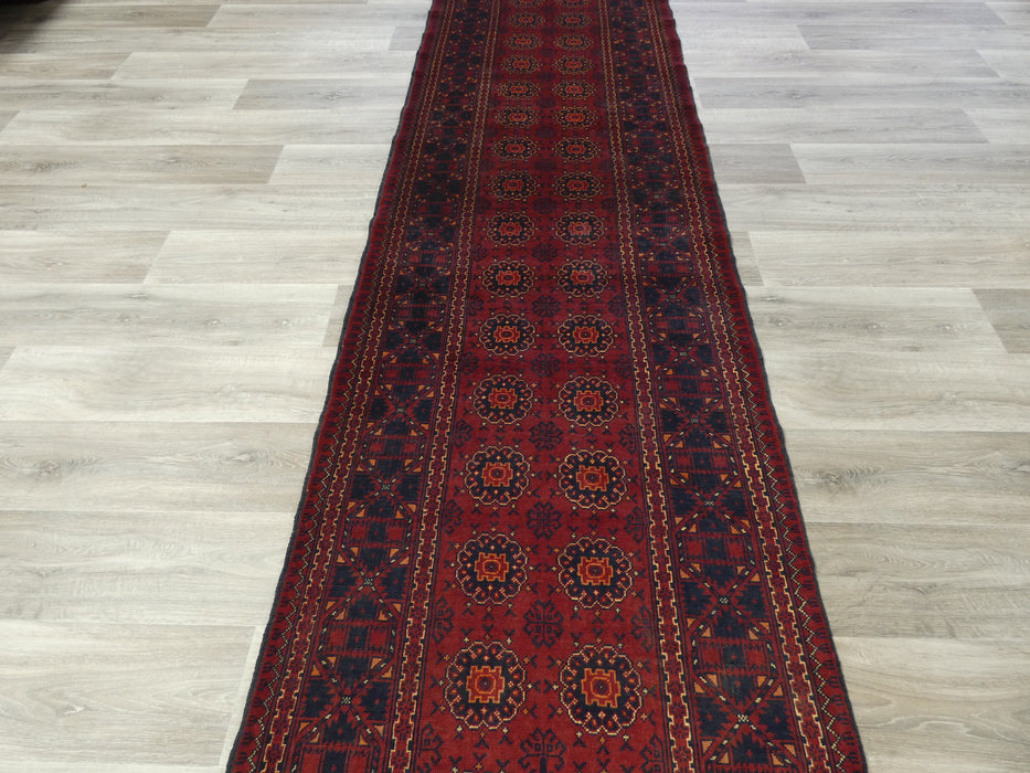 Afghan Hand Knotted Khal Mohammadi Runner Size: 377 x 90cm-Afghan Runner-Rugs Direct