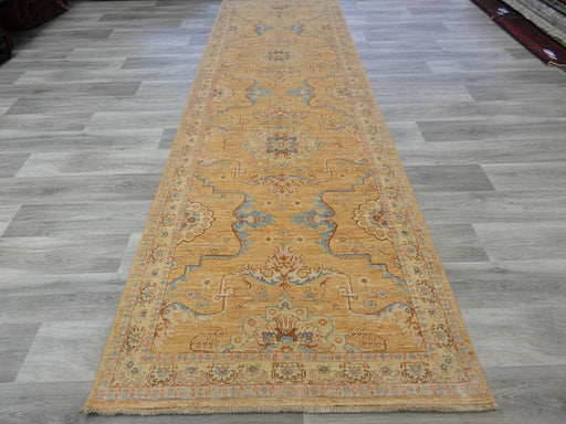 Afghan Hand Knotted Choubi Hallway Runner Size: 378 x 120cm
