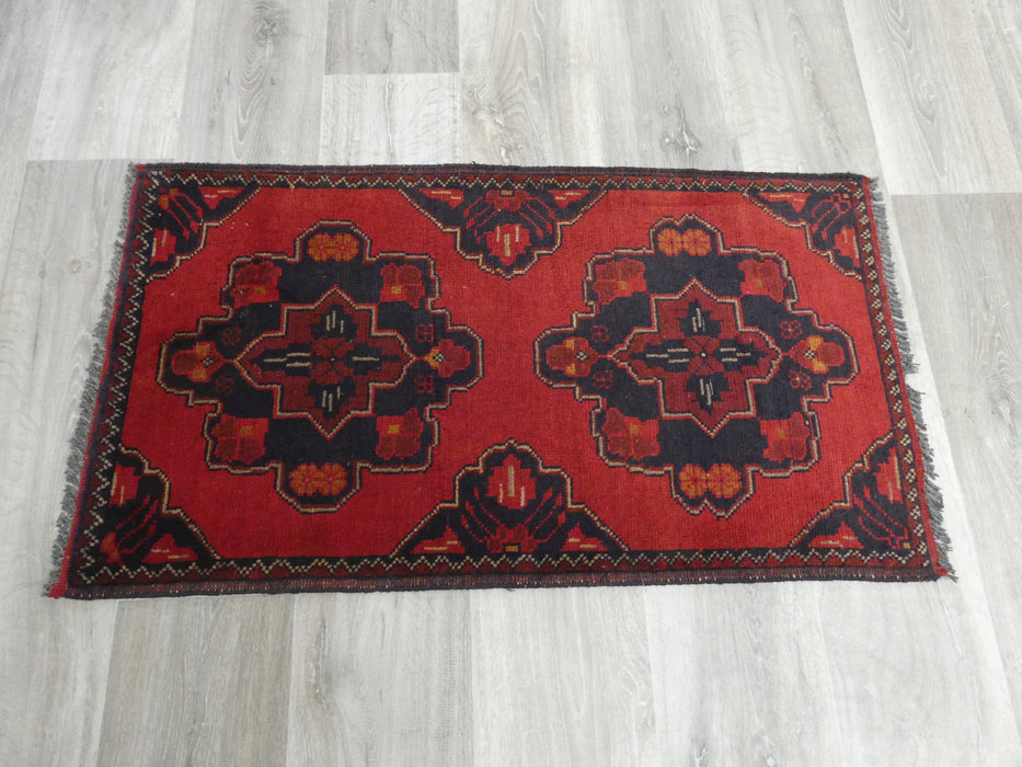 Afghan Hand Knotted Khal Mohammadi Doormat Size: 98 x 57cm-Afghan Rug-Rugs Direct