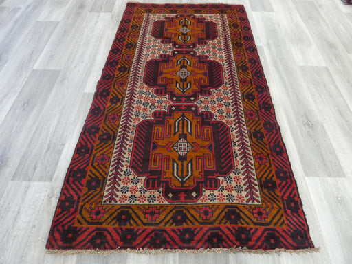 Afghan Hand Knotted Baluchi Rug Size: 190 x 104cm
