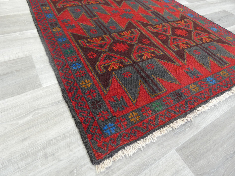 Afghan Hand Knotted Baluchi Rug Size: 190 x 108cm
