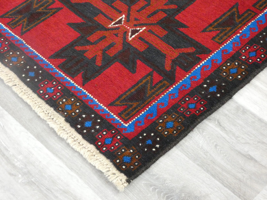 Afghan Hand Knotted Baluchi Rug Size: 191 x 115cm