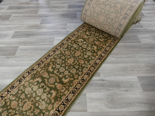 Green & Black Turkish Hallway Runner 80cm Wide x Cut To Order