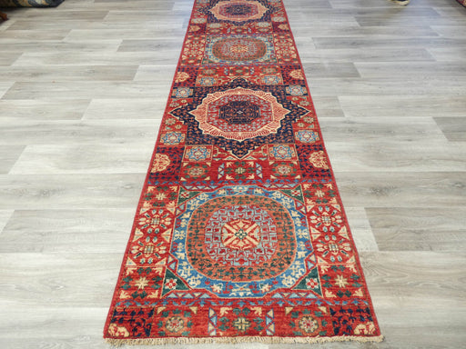 Afghan Hand Knotted Choubi Hallway Runner Size: 307 x 82cm