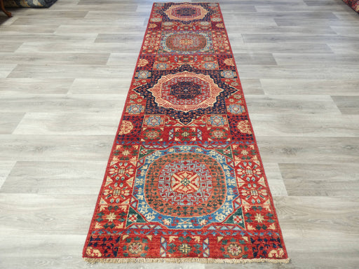 Afghan Hand Knotted Choubi Hallway Runner Size: 298 x 86cm