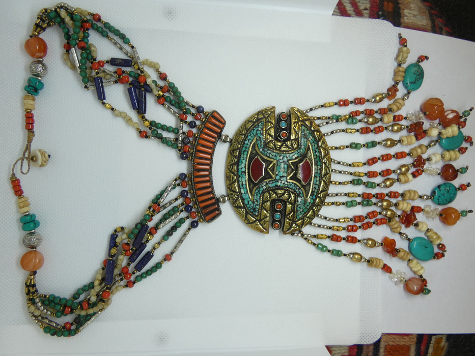 Nepalese Tibetan Necklace, Handmade and Traditional-Nepalese Tibetan Jewelry-Rugs Direct