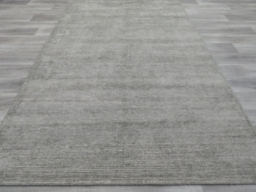 Distressed Olive Coloured Bamboo Silk Rug