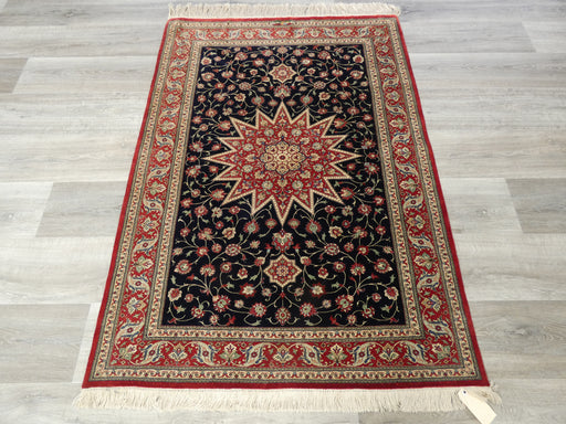 Persian Hand Knotted Pure Silk Qum Signature Rug Size: 144 x 102cm