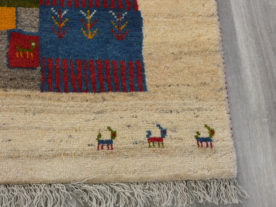Authentic Persian Hand Knotted Gabbeh Rug Size: 200 x 148cm-Persian Gabbeh Rug-Rugs Direct